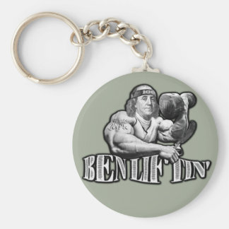 Ben Liftin Bodybuilding Ben Franklin Keychain Rund Nyckelring