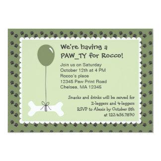 Ben- och ballonghundfödelsedagsfest inbjudan
