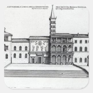 Benedictionloggiaen av den gammala Vaticanen Fyrkantigt Klistermärke