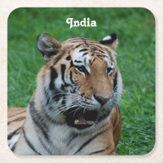 Bengal tiger i Indien Underlägg Papper Kvadrat