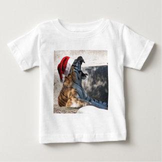 Bengal tiger som ha på sig en Santa hatt för jul T-shirt