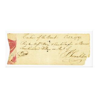 Benjamin Franklin undertecknade kontrollen Oktober Canvastryck
