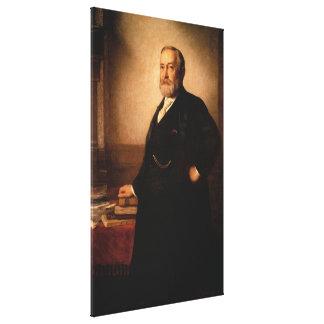 BENJAMIN HARRISON porträtt av Eastman Johnson Canvastryck