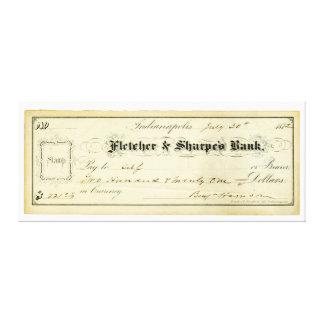Benjamin Harrison undertecknade kontrollen från Ju Canvastryck