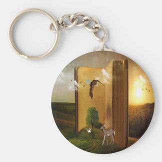 Berättelsebok med den örnflyg, ekorren och hjort rund nyckelring