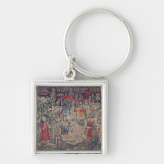 Berättelsen av Jourdain de Blaye, Arrasseminarium Fyrkantig Silverfärgad Nyckelring