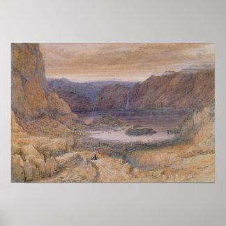 Berg en sjö, norge, c.1827 affischer