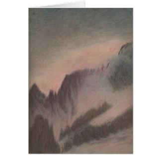 Berg för den pastellfärgade teckningen för vintage hälsningskort