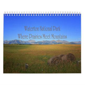 Berg för Meet för Waterton nationalparkprärier Kalender