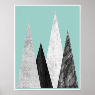 Berg geometriskt scandinavian affischtryck poster