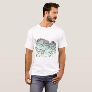 Berg och träd fodrar teckningutslagsplatsskjortor tee shirt