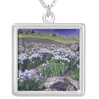 Berg och vildblommar i alpin äng, silverpläterat halsband