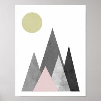 Berg under den geometriska affischen för sol poster