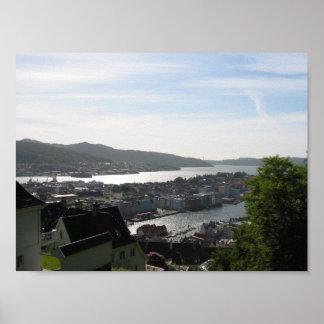 Bergen norgeöverblick affischer