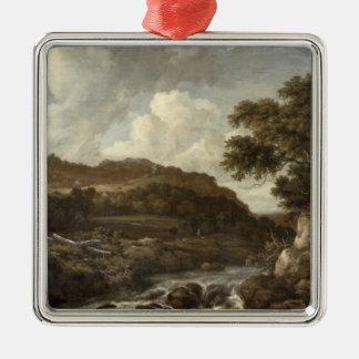 Bergigt skogsbevuxet landskap med ett flöde julgransprydnad metall