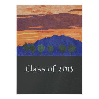 Bergsolnedgången - klassificera av 2013 akademikra 14 x 19,5 cm inbjudningskort