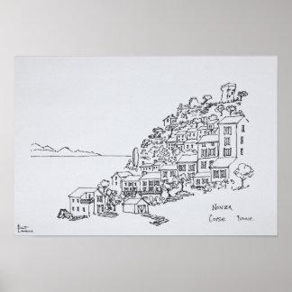Bergstoppby av Nonza | Corsica, frankrike Poster