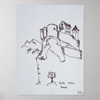 Bergstoppfästning av Corte | Corsica, frankrike Poster