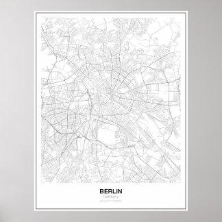 Berlin tyskland Minimalist kartaaffisch (stil 2) Poster