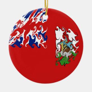 Bermuda Gnarly flagga Rund Julgransprydnad I Keramik