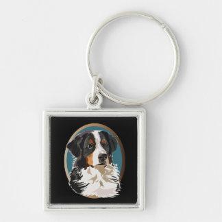 Bernese berghund fyrkantig silverfärgad nyckelring