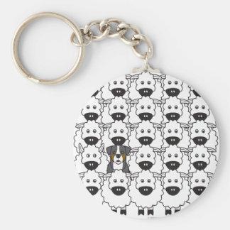 Bernese berghund i fåren rund nyckelring