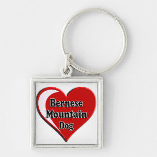 Bernese berghund på hjärta för hund älskare fyrkantig silverfärgad nyckelring