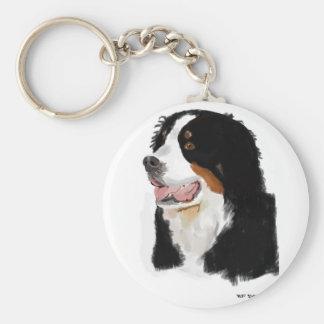 Bernese berghund rund nyckelring