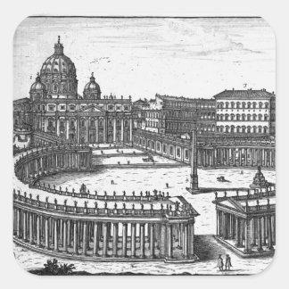 Berninis original planerar för St Peter kvadrerar Fyrkantigt Klistermärke