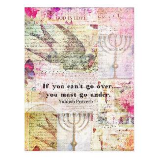 Berömd Yiddish proverb med Judaica themed konst Vykort