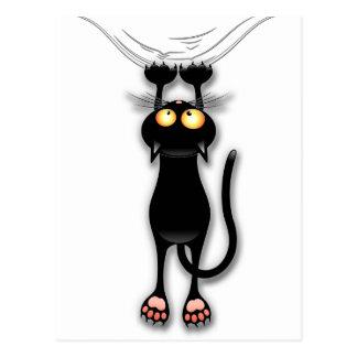 Besegrar falla för katt för roligt svart vykortet vykort