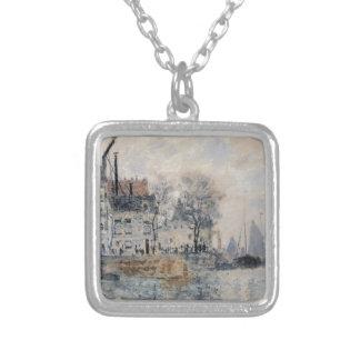 Beskåda av Amsterdam vid Claude Monet Silverpläterat Halsband