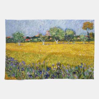 Beskåda av Arles med Irises som Vincent Van Gogh Kökshandduk