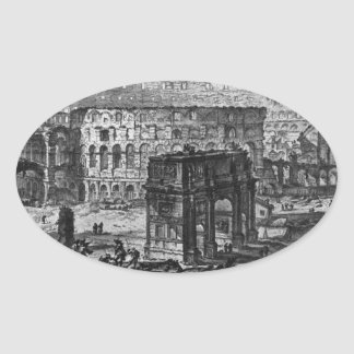 Beskåda av bågen av Constantine och Flavianen Ovalt Klistermärke