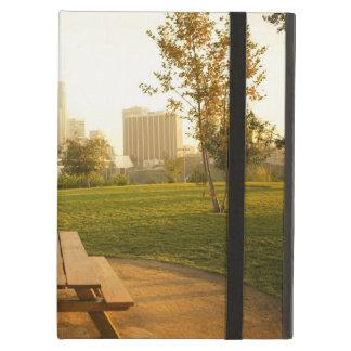 Beskåda av centra från picknick i stads- parkerar