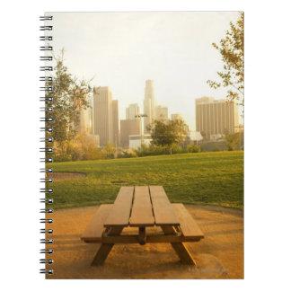 Beskåda av centra från picknick i stads- parkerar anteckningsbok
