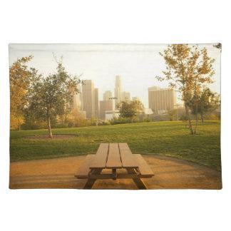 Beskåda av centra från picknick i stads- parkerar bordstablett