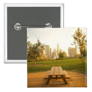 Beskåda av centra från picknick i stads- parkerar standard kanpp fyrkantig 5.1 cm