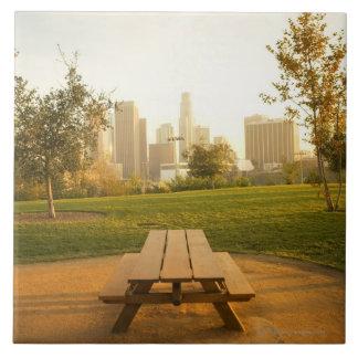Beskåda av centra från picknick i stads- parkerar stor kakelplatta