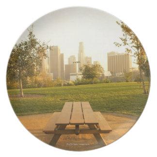 Beskåda av centra från picknick i stads- parkerar tallrikar