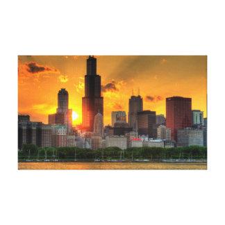 Beskåda av Chicago horisont från Adler Canvastryck
