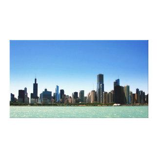 Beskåda av Chicago horisont vid Lake Michigan Canvastryck