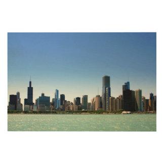 Beskåda av Chicago horisont vid Lake Michigan Trätavla