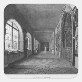 Beskåda av cloisteren, Musee des-monument Fyrkantigt Klistermärke