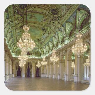 Beskåda av de stora Salle des-fetesna, efter 1871 Fyrkantigt Klistermärke