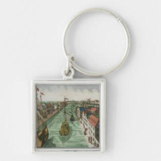 Beskåda av den Kettel grinden i Delft (gravyr) Fyrkantig Silverfärgad Nyckelring