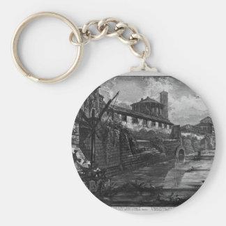 Beskåda av den Tiber ön av Giovanni Battista Pira Rund Nyckelring