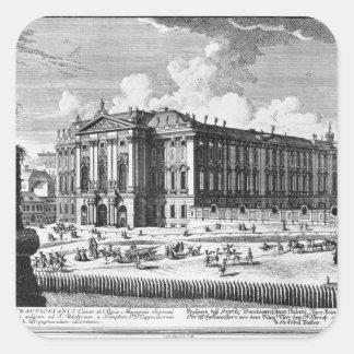 Beskåda av den Trautson slotten som byggas för Fyrkantigt Klistermärke