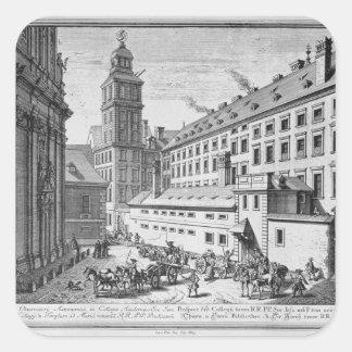 Beskåda av det nya observatoriumet i jesuiten fyrkantigt klistermärke