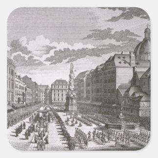 Beskåda av en procession i Grabenen Fyrkantigt Klistermärke